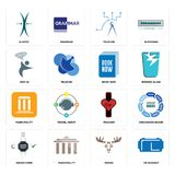 Set of vr headset, moose, order form, tracker, municipality, book now, join us, telecom, elastic icons. Set Of 16 simple editable icons such as vr headset, moose Royalty Free Stock Photography