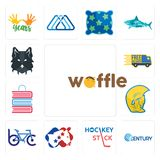 Set of waffle, century, hockey stick, democrat, bike club, warrior head, book shop, free delivery, wolf face icons. Set Of 13 simple editable icons such as Stock Images