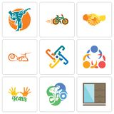 Set Of 9 simple editable icons such as wardrobe, cyclist, 10 years. 3 people, generic, carpet, hand shake, bike shop, martial arts, can be used for mobile, web Royalty Free Stock Image