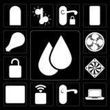 Set of Water, Laptop, Doorknob, Socket, Browser, Cooler, Unlock, Stock Illustration