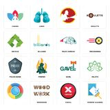 Set of window cleaning, cancel, , gavel, police badge, truck company, recycle, chakra icons. Set Of 16 simple editable icons such as window cleaning, cancel Stock Image