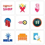 Set Of 9 simple editable icons such as window cleaning, couch, helm. Pause, tire business, boxing gloves, salon, chili pepper, donut shop, can be used for Royalty Free Stock Image