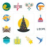 Set of wizard hat, colibri, shooting stars, paddy, garage door, law, bird nest, 1st birthday, goldfish icons. Set Of 13 simple editable icons such as wizard hat Stock Image