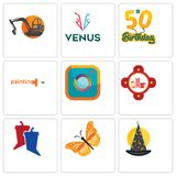 Set Of 9 simple editable icons such as wizard hat, monarch butterfly, debate. Fire station, camera, painting company, 50th birthday, venus, digger, can be used Royalty Free Stock Images