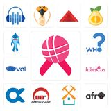 Set of world cancer day, afro, property maintenance, 90th anniversary, , hibiscus, oval, who, shark mascot icons. Set Of 13 simple editable icons such as world Royalty Free Stock Photos