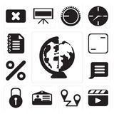 Set of Worldwide, Video player, Placeholders, Id card, Locked, N. Set Of 13 simple editable icons such as Worldwide, Video player, Placeholders, Id card, Locked vector illustration