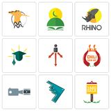 Set Of 9 simple editable icons such as yard sale, stealth bomber, footage. Chili cook off, approach, education, rhino, quran, hoopoe, can be used for mobile Royalty Free Stock Photography