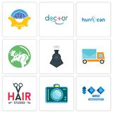 Set Of 9 simple editable icons such as 100 year anniversary, dslr, hair studio. Post car, locomotive, moose, hurrican, doctor, program management, can be used Royalty Free Stock Images