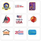Set Of 9 simple editable icons such as 20 year, anniversary, lodging. Sparta, made in usa, dance studio, 30 america, volleyball tournament, can be used for Royalty Free Stock Photography