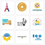Set Of 9 simple editable icons such as 100 year anniversary, unemployment, program management. Celebrating 25 years, black swan, post car, free, bagel, eiffel Stock Photography