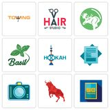 Set Of 9 simple editable icons such as 50 year, bull, dslr. Statement, hookah, basil, moose, hair studio, towing, can be used for mobile, web Stock Photos
