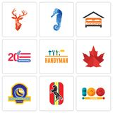 Set Of 9 simple editable icons such as 100 year, horse, volleyball tournament. Canada leaf, handyman, 20 anniversary, lodging, sea stag head, can be used for Royalty Free Stock Photo