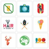 Set Of 9 simple editable icons such as 100 year, moose, stag head. Icecream, tribe, hair studio, horse, dslr, gluten free, can be used for mobile, web Stock Image