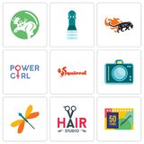 Set Of 9 simple editable icons such as 50 years anniversary, hair studio, dragonfly. Dslr, squirrel, girl power, black panthers, girls bathroom, moose, can be Stock Photo
