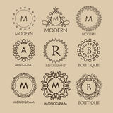 Set of  simple and elegant  monogram designs Stock Photos