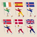 Set of simple flat athletes skating with flags. Of countries. Standard bearers of Denmark, UK United Kingdom, Spain, Norway, Ireland, Iceland. Winter sport Stock Photos