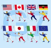 Set of simple flat athletes skating with flags of Group of Seven. G7 and European Union. Standard bearers of USA, Canada, United Kingdom, Germany, France, Japan Stock Photo