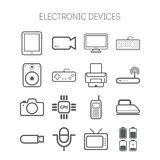 Set of simple flat icons with electric devices Stock Image