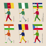Set of simple flat people with flags of African countries. Standard bearers infographic - Niger, Nigeria, Chad, Equatorial Guinea, Cameroon, Central African vector illustration