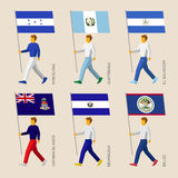 Set of simple flat people with flags of Asian countries Stock Photos