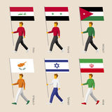 Set of simple flat people with flags of Asian countries Stock Images