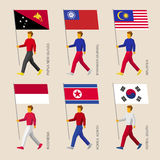 Set of simple flat people with flags of Asian countries Stock Photography