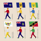 Set of simple flat people with flags of Caribbean countries. Standard bearers infographic - Montserrat, Barbados, Virgin Islands, Saint Kitts and Nevis, Saint Stock Photo
