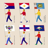 Set of simple flat people with flags of Caribbean countries. Standard bearers infographic - Sint Maarten, Saba, Saint Pierre and Miquelon, Saint Barthelemy Royalty Free Stock Photography