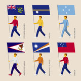 Set of simple flat people with flags of countries in Oceania Stock Photography