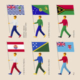 Set of simple flat people with flags of countries in Oceania Stock Photos