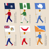 Set of simple flat people with flags of countries Royalty Free Stock Photo