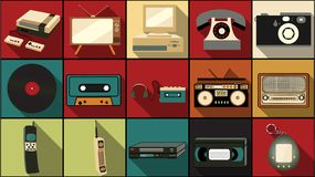 Set of simple flat style icons with long shadow from old retro vintage hipster electronics, mobile phones, camera, audio. Recorder, tape, computer, vinyl record royalty free illustration