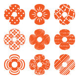 Set of simple flowers. Set of simple orange flowers Royalty Free Stock Photography