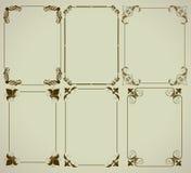 Set of simple frames. Six simple frames on the light background, set of ornamental golden labels Stock Images