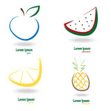 Set simple fresh fruit. Vector illustration Stock Photography