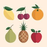 A set of simple fruits. Vector illustration. A set of simple fruit flat. Vector illustration Royalty Free Stock Image