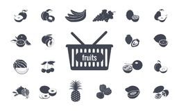 Set of simple fruits icons. Vector Royalty Free Stock Image
