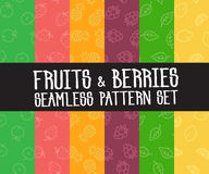 Set of  simple fruits seamless patterns Royalty Free Stock Images