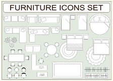 Set of simple furniture vector icons as design elements Stock Photo