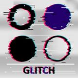 Set of simple geometric circle form, frames or border in distorted glitch style. Modern trendy background shapes for design banner. Poster, cover, flyer Stock Images
