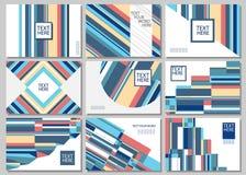 Set of 9 simple geometric graphic covers design. Vector illustra stock illustration