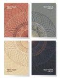 Set of 4 simple geometric mandala graphic covers design. Poster royalty free illustration