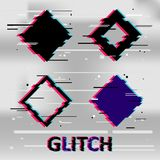 Set of simple geometric rhombus form, frames or border in distorted glitch style. Modern trendy background shapes for design banne. R, poster, cover, flyer Stock Photography