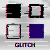 Set of simple geometric square form, frames or border in distorted glitch style. Modern trendy background shapes for design banner. Poster, cover, flyer Stock Photos
