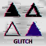 Set of simple geometric triangle form, frames or border in distorted glitch style. Modern trendy background shapes for design bann. Er, poster, cover, flyer Stock Images