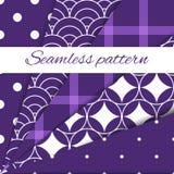 Set of simple geometric white patterns on purple background. Royalty Free Stock Image