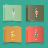 Set of simple glasses for alcoholic drinks Stock Photos