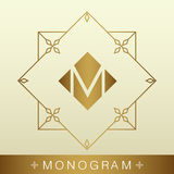 Set of simple and graceful monogram design templates, Elegant li. Neart logo design elements,Gold with beige,vector illustration royalty free illustration