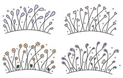 Set of simple hand drawn floral borders. Set of floral whimsical hand drawn borders Royalty Free Stock Photo