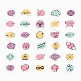 Set of simple hand drawn icons. Business and start Royalty Free Stock Images